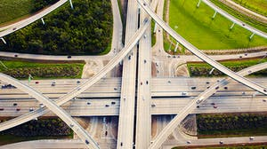Aerial view of a highway system