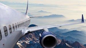 International flight over mountains