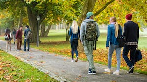 Students walking on college campus