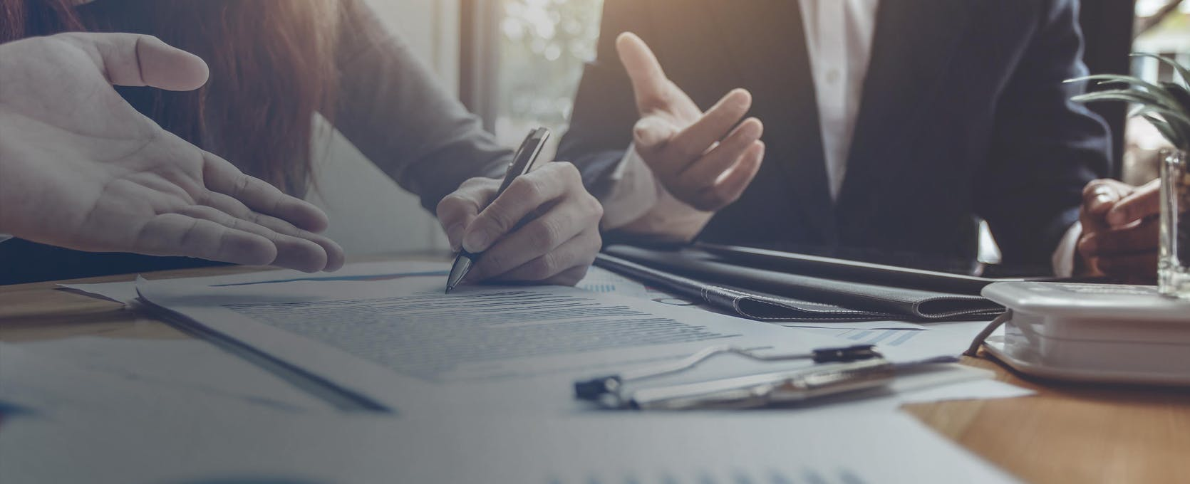 Business professionals review financial statement audits