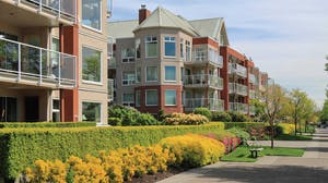Street view of an apartment complex in spring