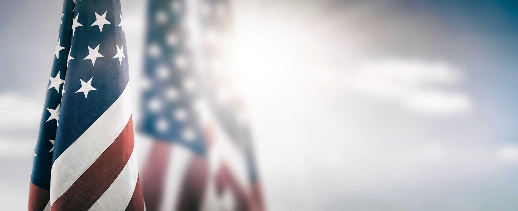 American flag in the sun