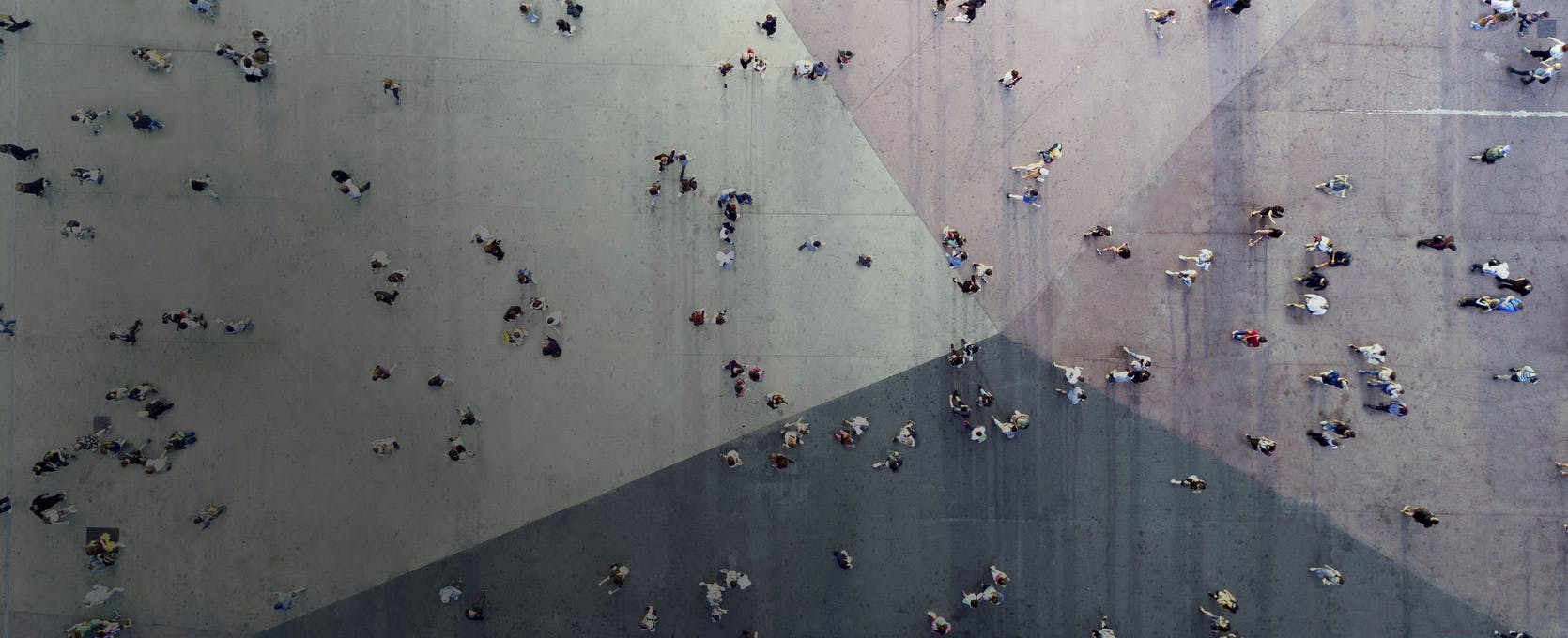 Crowded city plaza