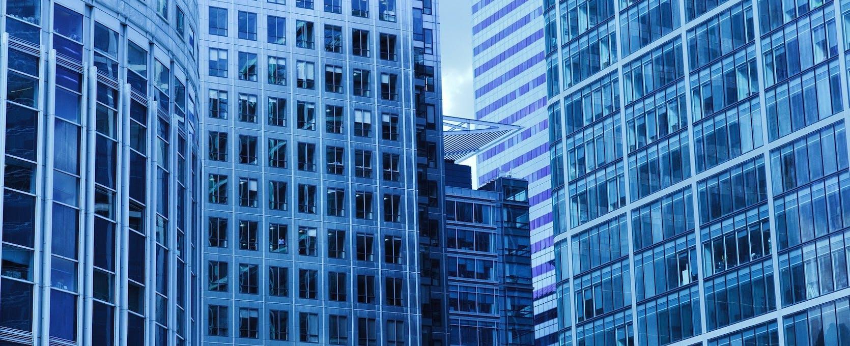 Blue city buildings