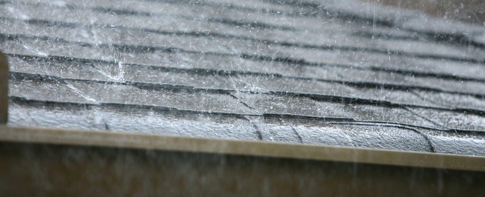 Rain falling on a roof