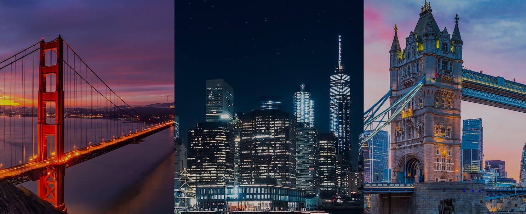 San Francisco, New York and London skylines