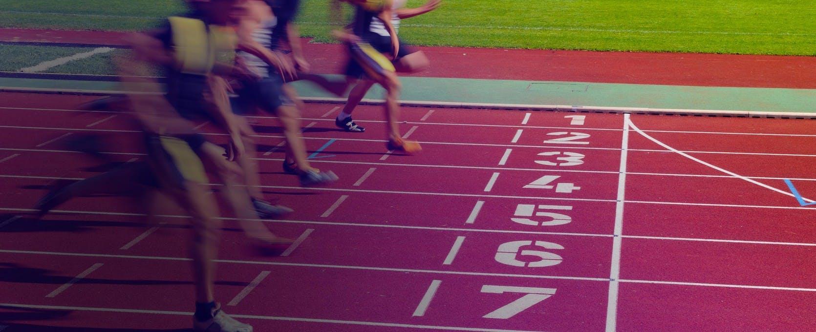 Runners nearing the finish line