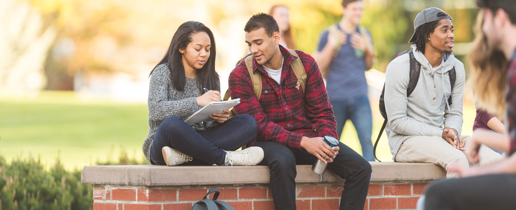 Students review schedules on campus