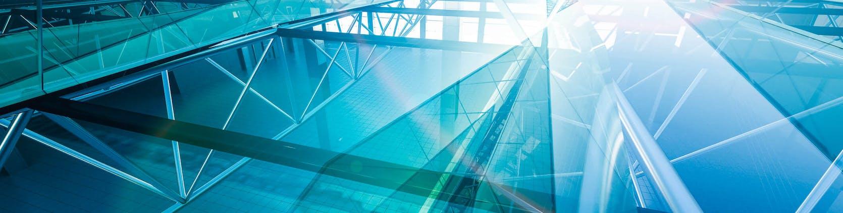 Blue windows on building, geometric patterns