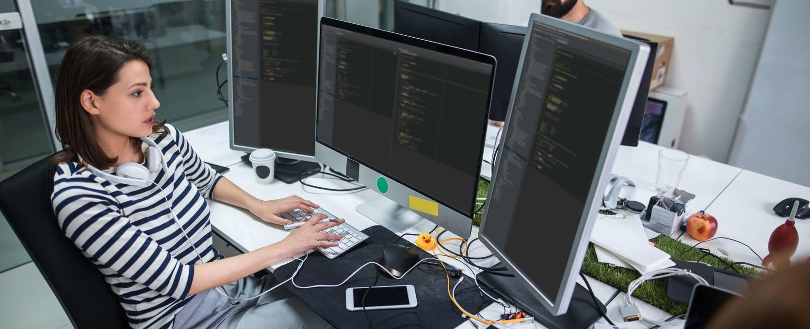 Developers at a software and technology company