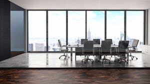 Executive conference room overlooking the city