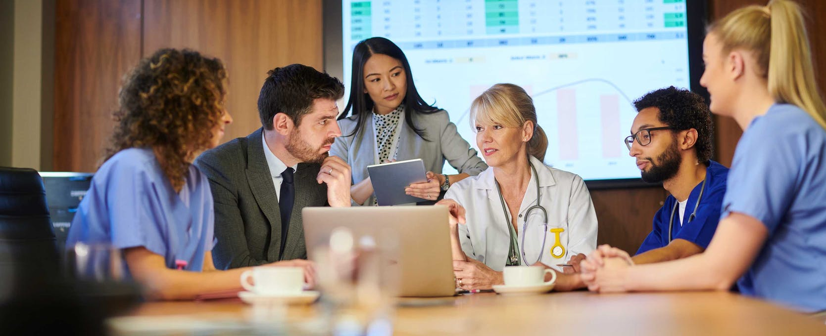 Team of doctors consulting in a conference room