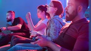 Gamers participate in an esports tournament