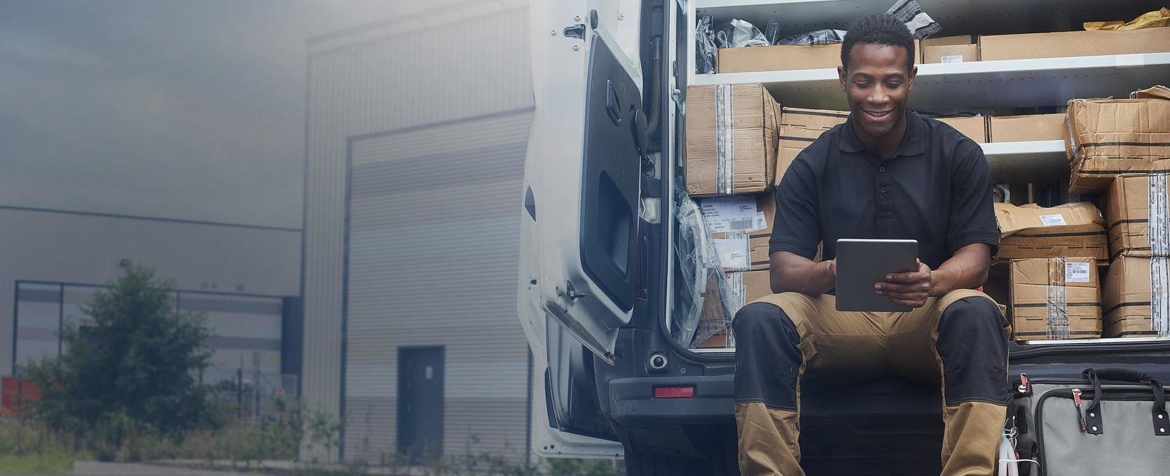 Delivery man and truck