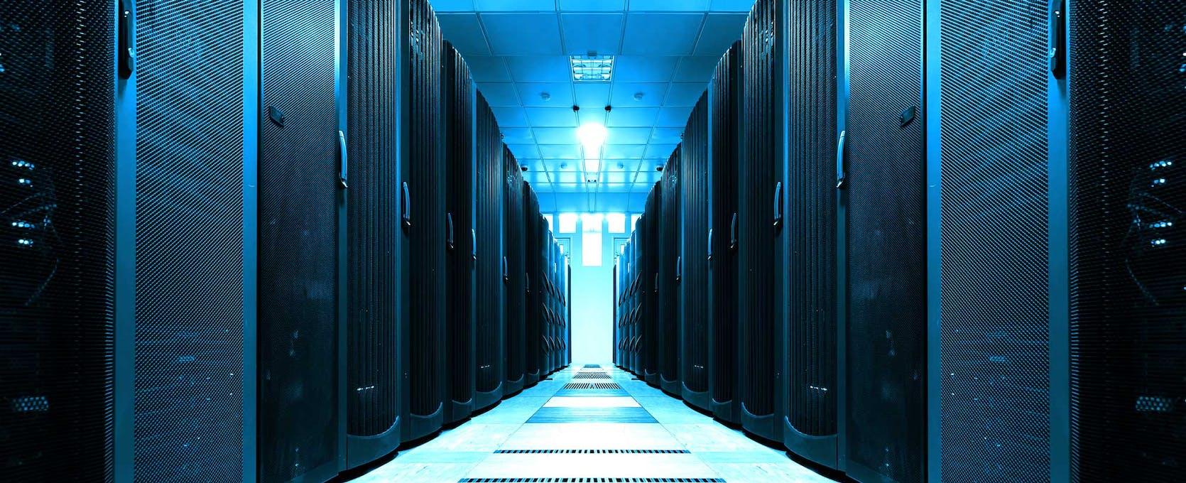 Blue lighting in server room