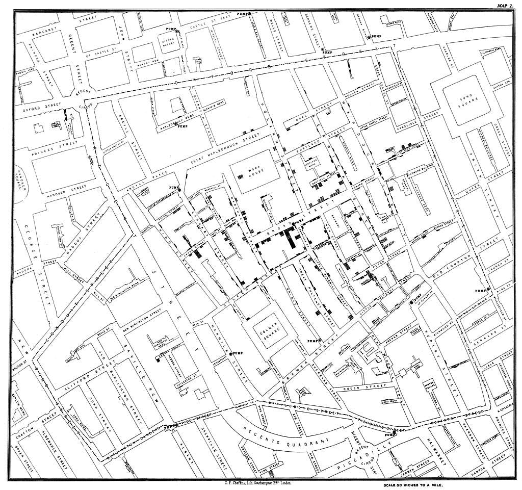 Map of cholera cases in the 1854 London epidemic