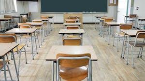School classroom of desks before students arrive