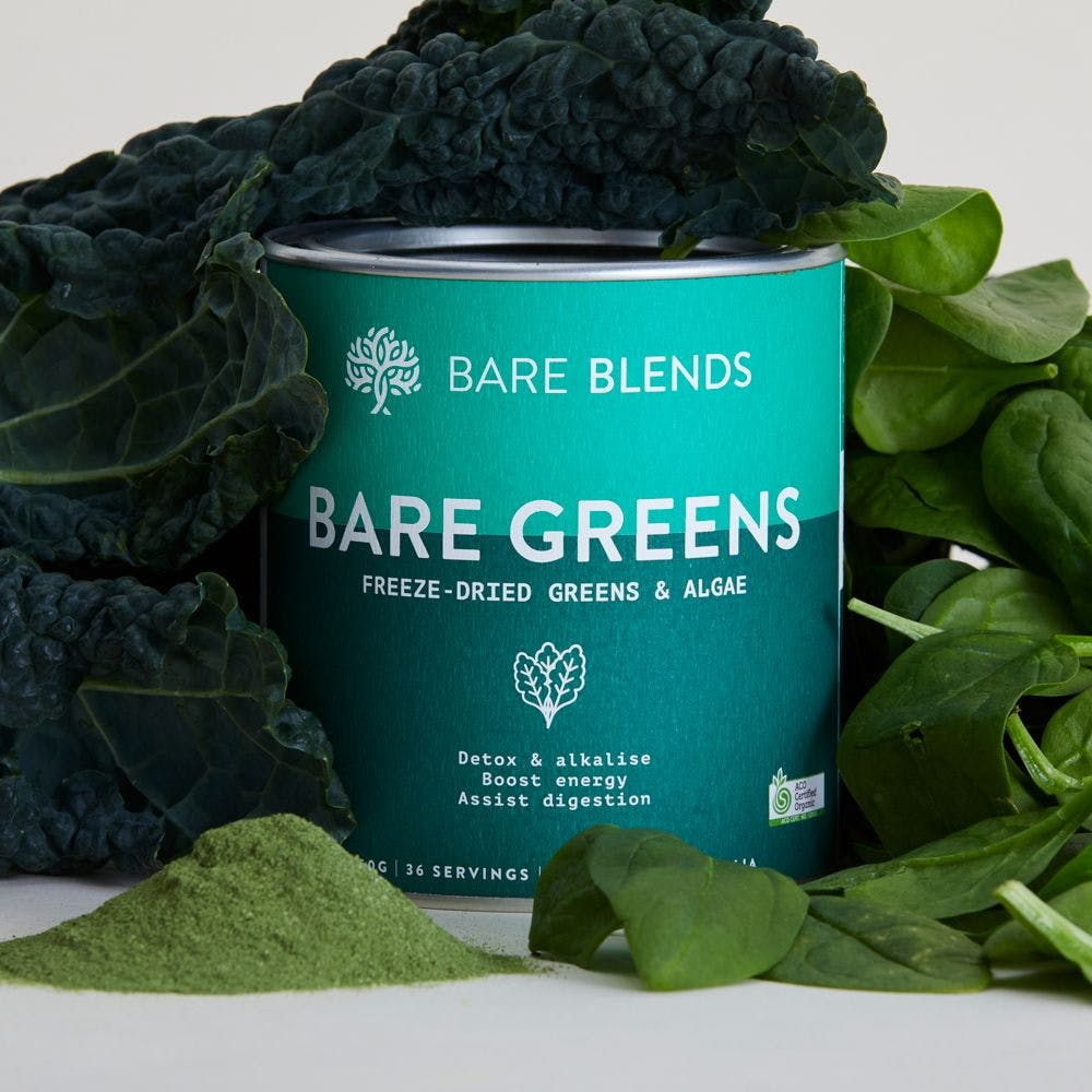 Bare Greens powder with fresh greens
