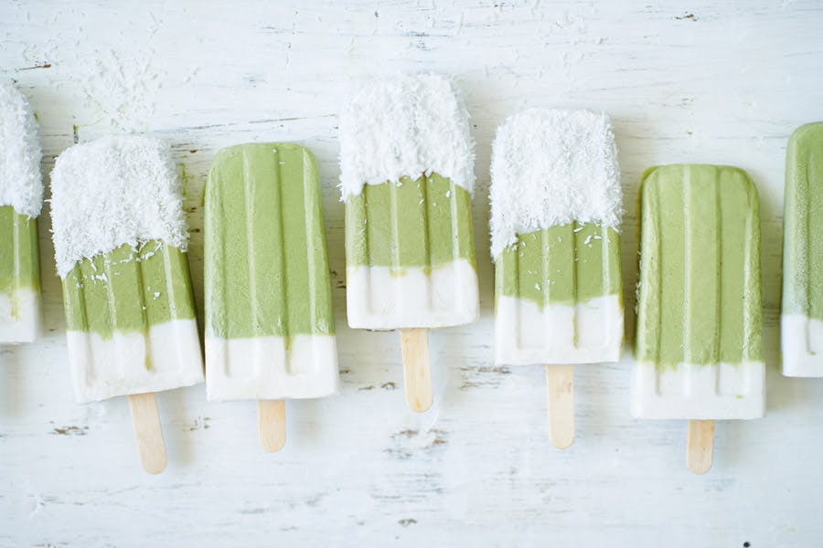 Matcha, Lime & Coconut Popsicles