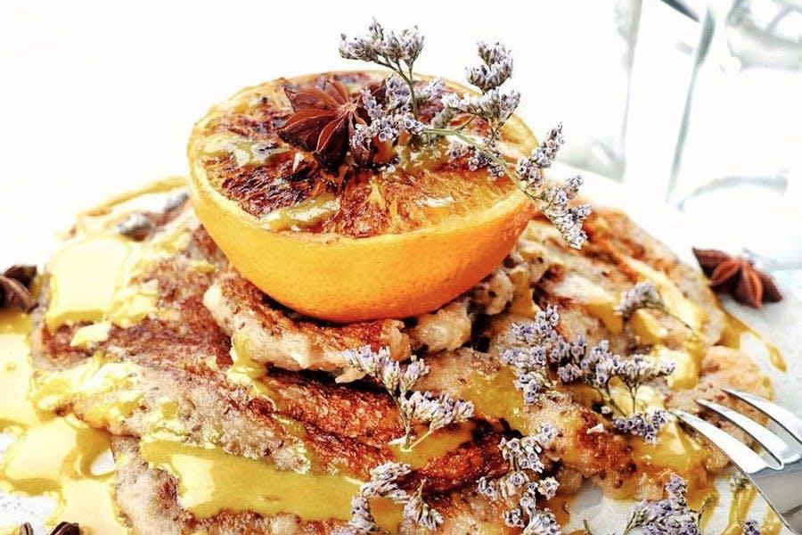 Orange Tahini Pancakes