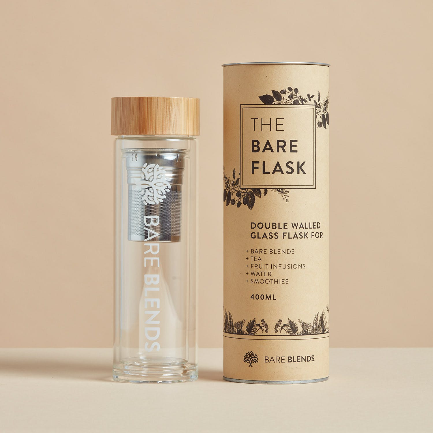 The Bare Flask - double-walled glass flask