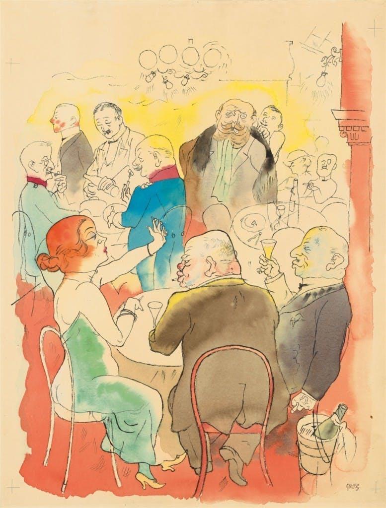 George Grosz (1893 - Berlin - 1959) - Soirée, aquarelle, plume et encre et crayon sur papier, 49,2 x 37,2 cm, signé 1922 Estimation: 250,000-350,000 EUR