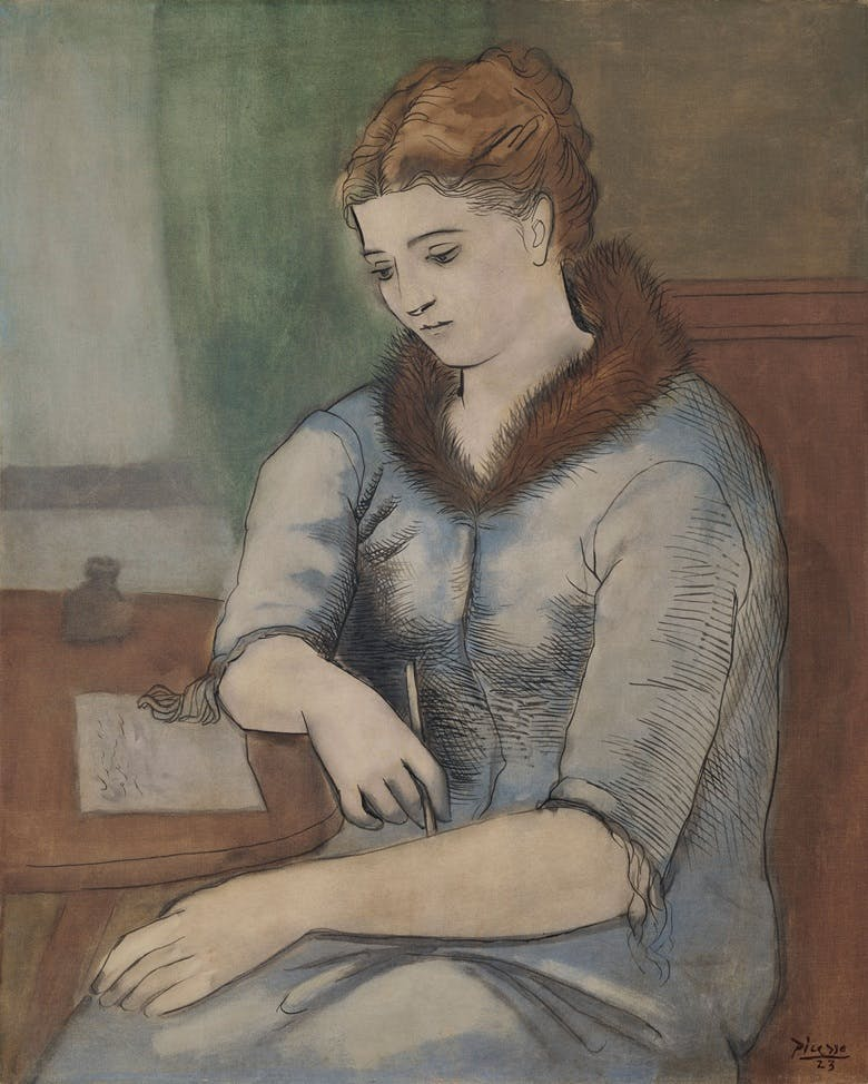 La Lettre (La Réponse), Pablo Picasso. 1923, oil on canvas. Image: 2019 Estate of Pablo Picasso / Artists Rights Society (ARS), New York via Christie's