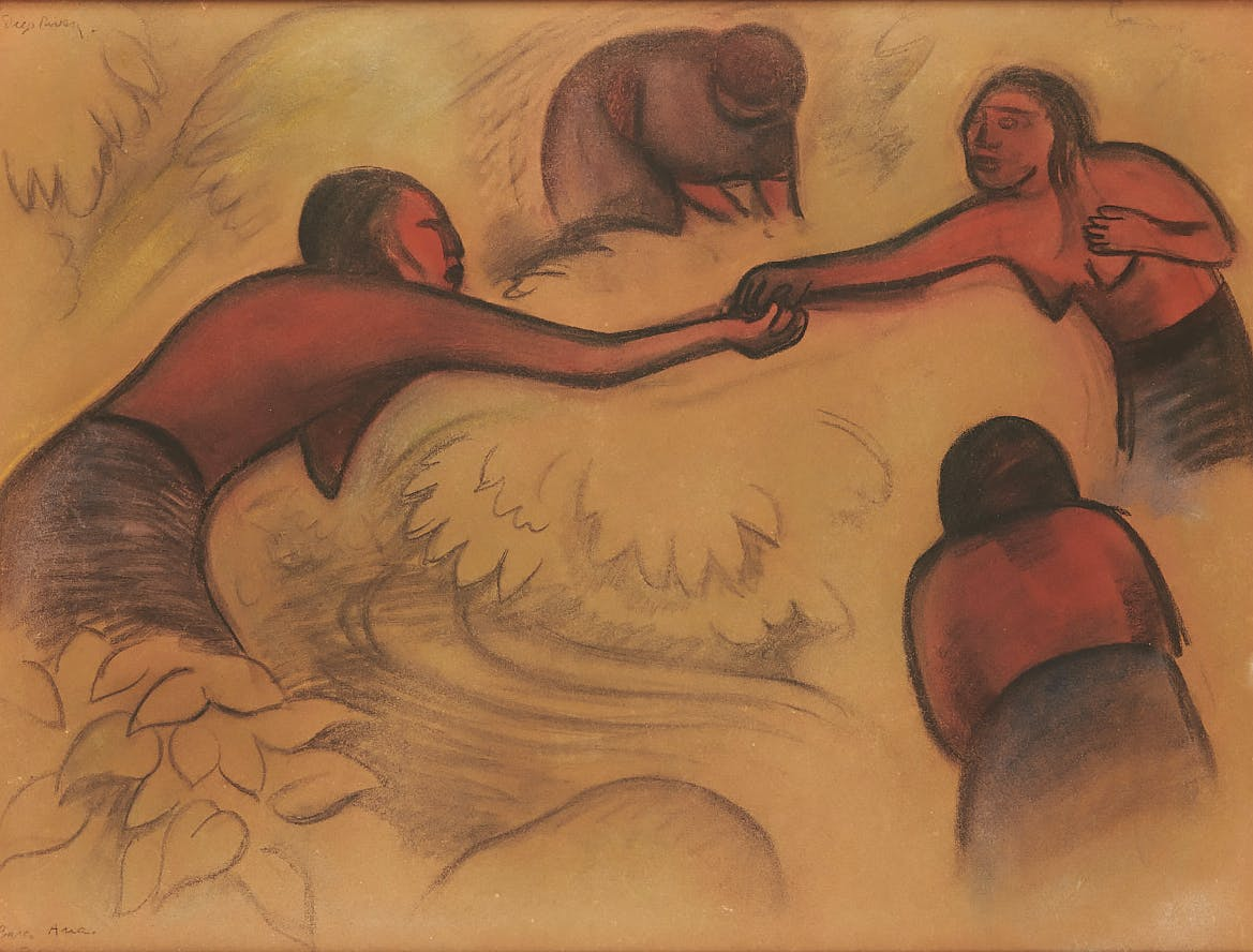 Diego Rivera, The Bathers of Tehuantepec. 1925, charcoal and pastel on cardboard.