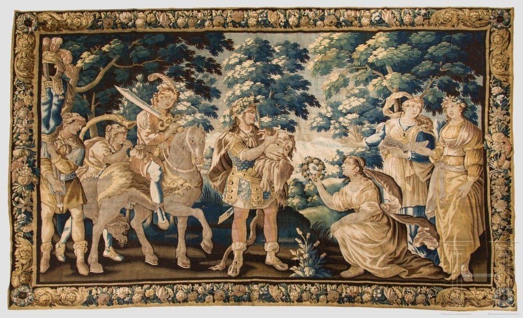 Importante tapisserie baroque, « Le triomphe de David », flamande, milieu du XVIIe siècle, image ©Hermann Historica