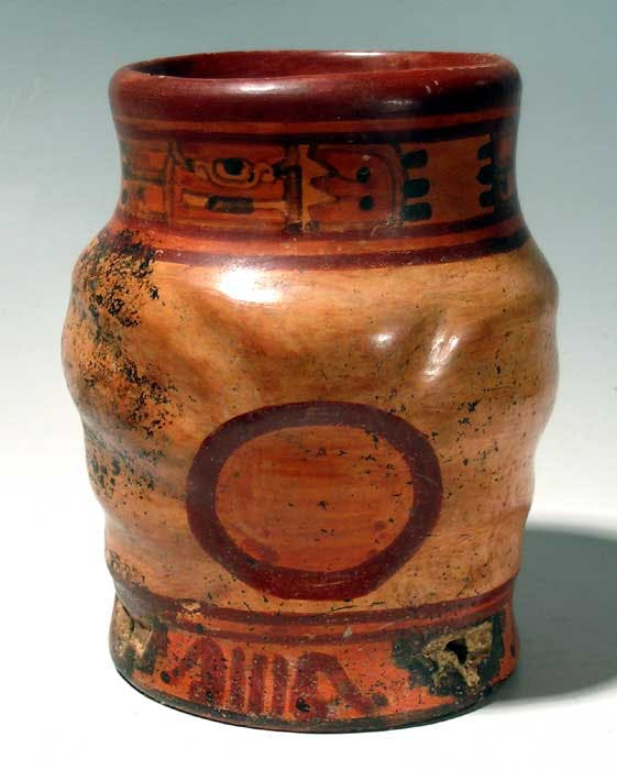 Mayan polychrome jar from the Ulua Valley of Honduras (circa 400-800 AD), 6 ¼ inches tall decorated with deeply carved step pyramids and glyphic symbols (est. $800-$1,200).
