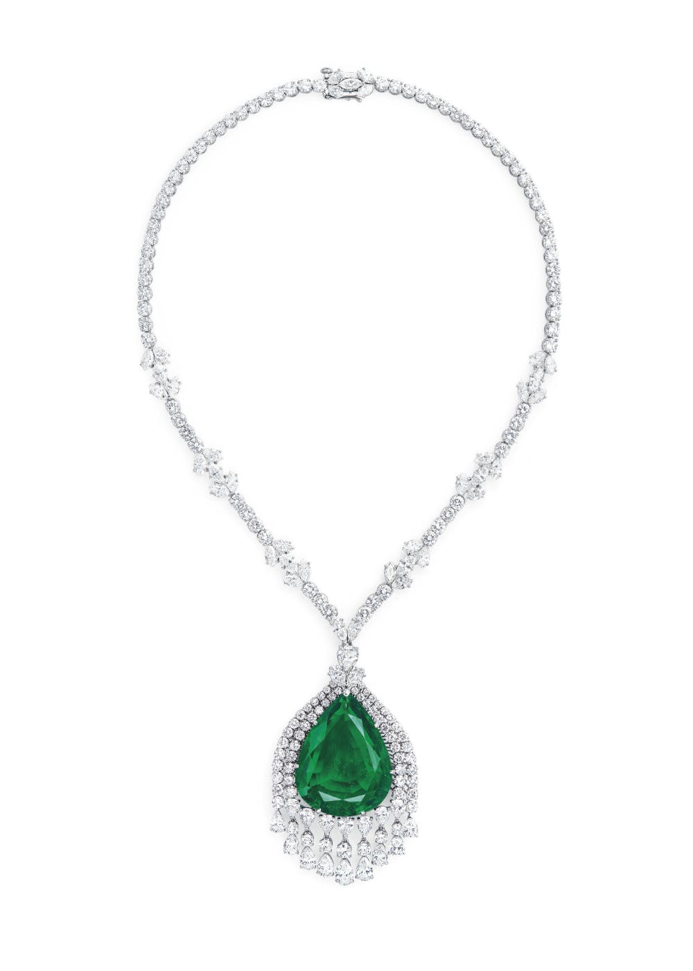 The emerald and diamond pendent necklace that will be sold by Christie's on May 15. Image: Christie's
