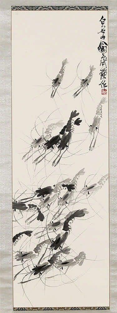 Qi Baishi (1864-1957), encre sur papier, 101 x 33,3 cm, Signé, Estimation: 150.000-200.000 EUR