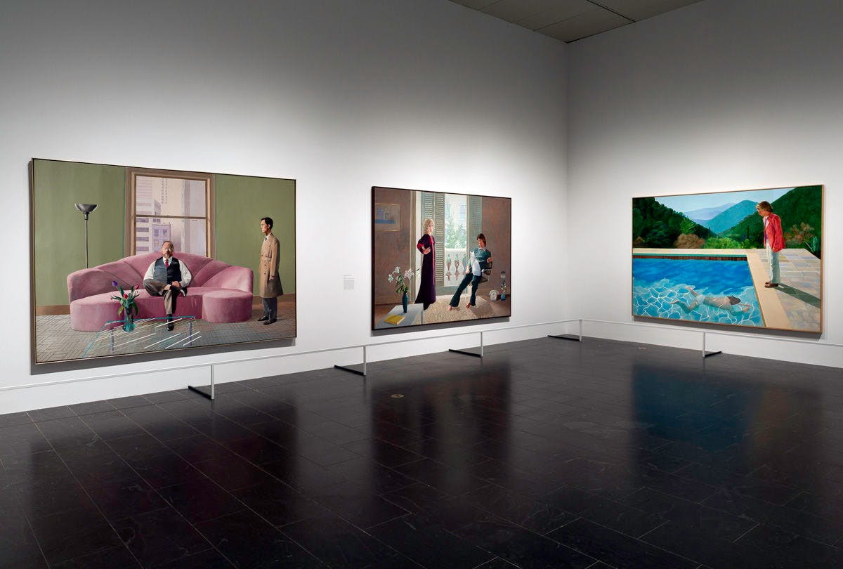 Three of Hockney's most famous double portraits (from left: Henry Geldzahler and Christopher Scott, Mr and Mrs Clark and Percy, Portrait of an Artist) at The Met's David Hockney retrospective in 2017. Image: The Metropolitan Museum of Art