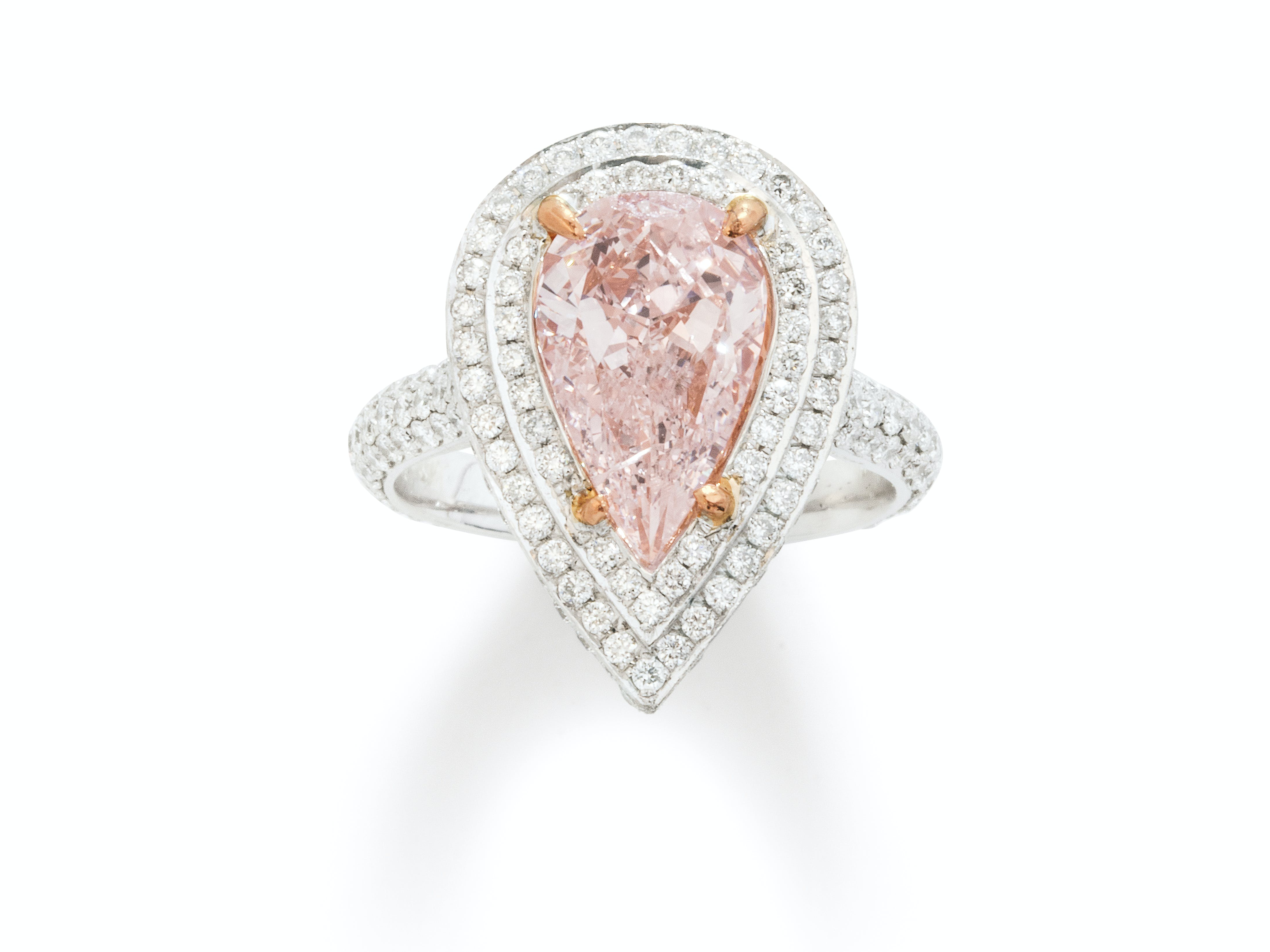 A Colored Diamond and White Gold Ring
