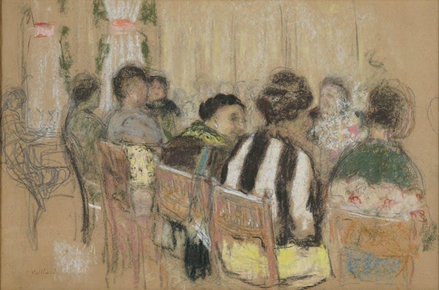 Édouard Vuillard, La Table d'hôte, Bagnoles-de-l'Orne, 1924, pastel sur papier, image © Rossini