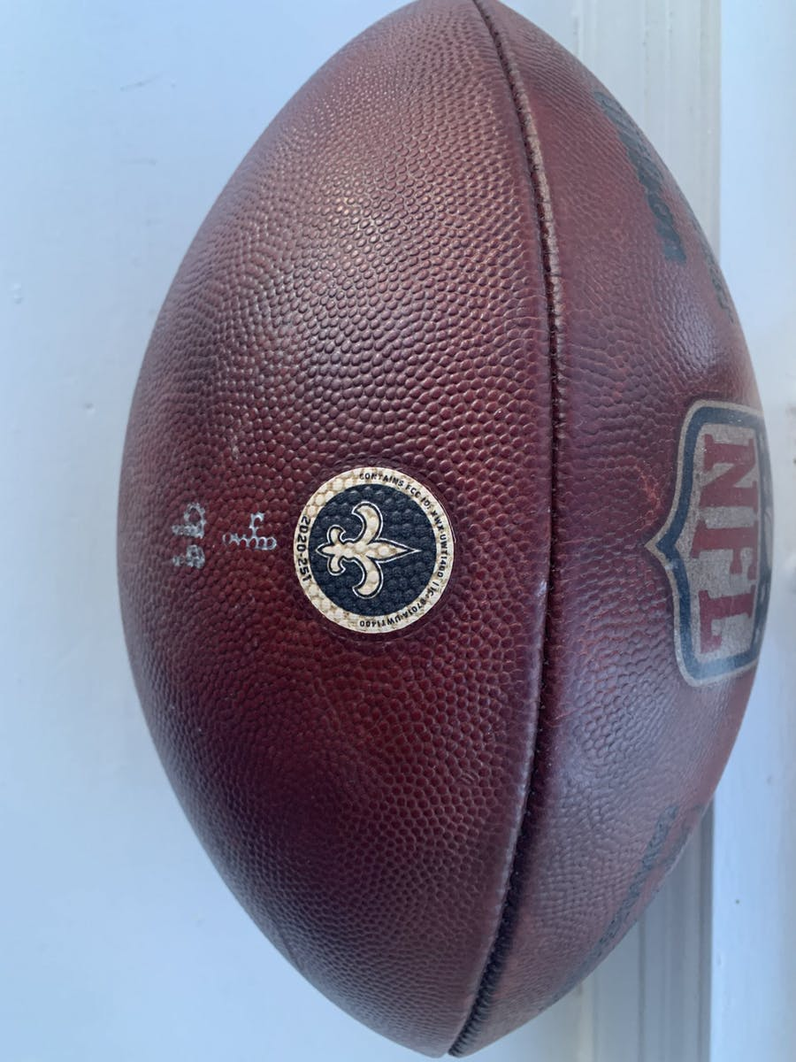 Tom Brady Game-Used Football 11-8-20 Bucs Vs. Saints Game COA New Orleans Saints & 100% Authentic Team