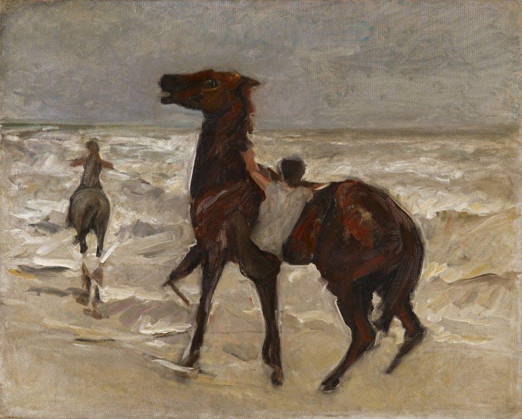 Max Liebermann (1847 - Berlin - 1935) - Palefreniers sur la plage, huile, 70,8 x 88,3 cm Estimation: 220.000-250.000 EUR