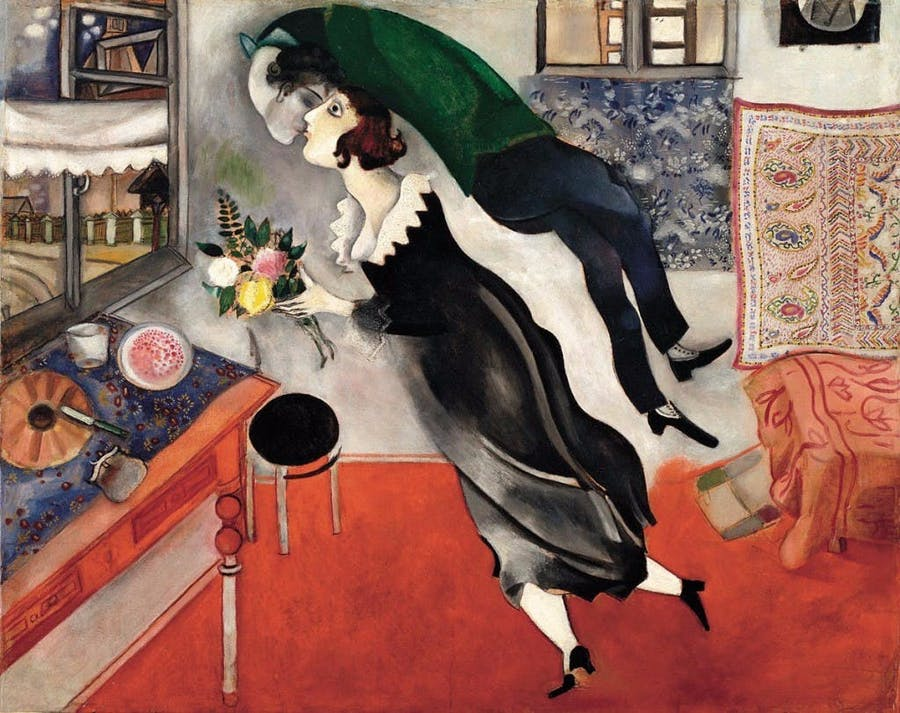 Marc Chagall, L'anniversaire, 1915, 80,6 x 99,7 cm, The Museum of Modern Art, New York, Acquired through the Lillie P. Bliss Bequest, 275.1949 © 2018. Digital image, The Museum of Modern Art, NewYork/Scala, Florence © Marc Chagall, Vegap, Bilbao 2018