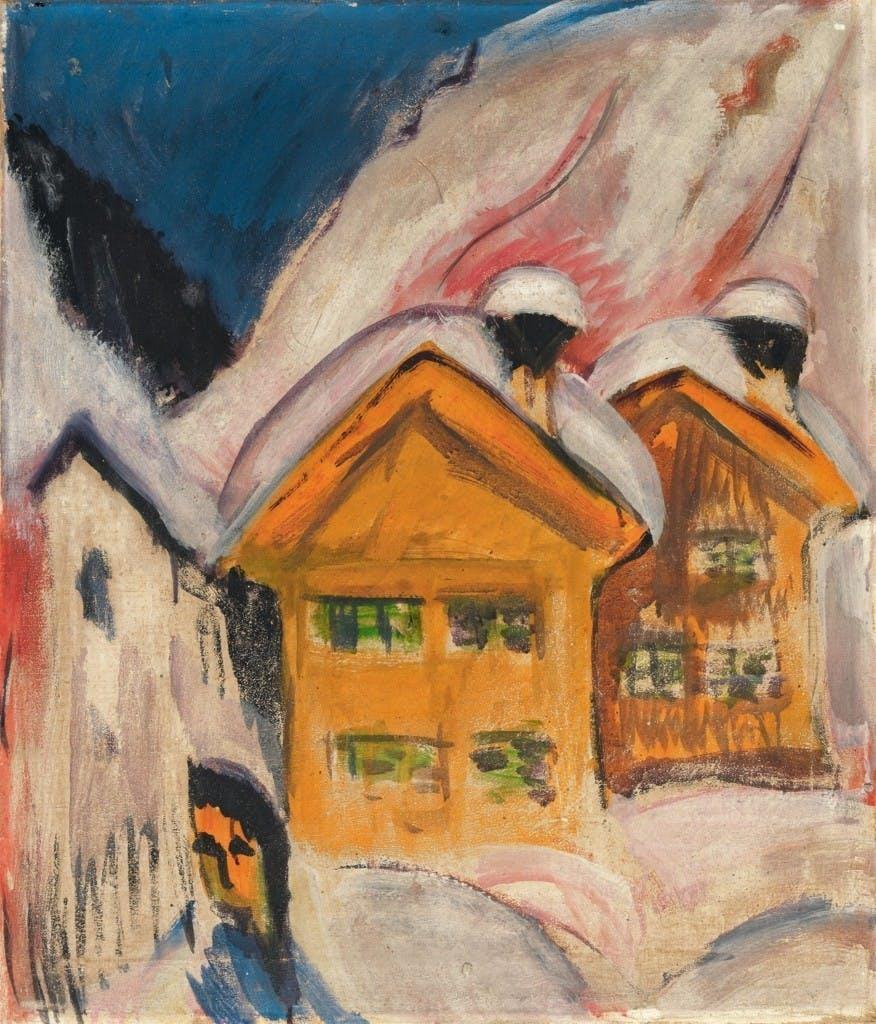ERNST LUDWIG KIRCHNER (Aschaffenburg 1880-1938 Frauenkirch près de Davos.) - Maisons dans la neige, huile, 70,5 x 60,3 cm, 1917 Estimation: 500,000-600,000 EUR