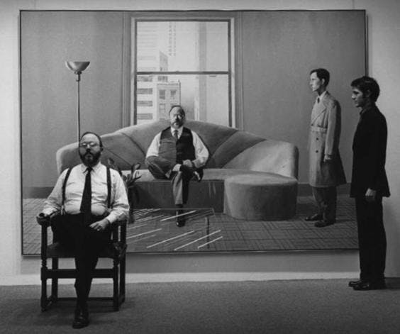 Henry Geldzahler and Christopher Scott in front of their Hockney portrait. Image by Cecil Beaton
