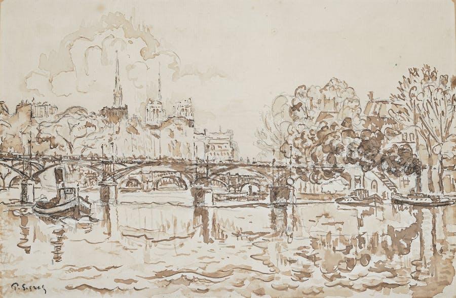 Paul Signac, La Seine à Paris, la passerelle des Arts et Notre-Dame, plume et lavis d'encre brune sur papier, image © Rossini
