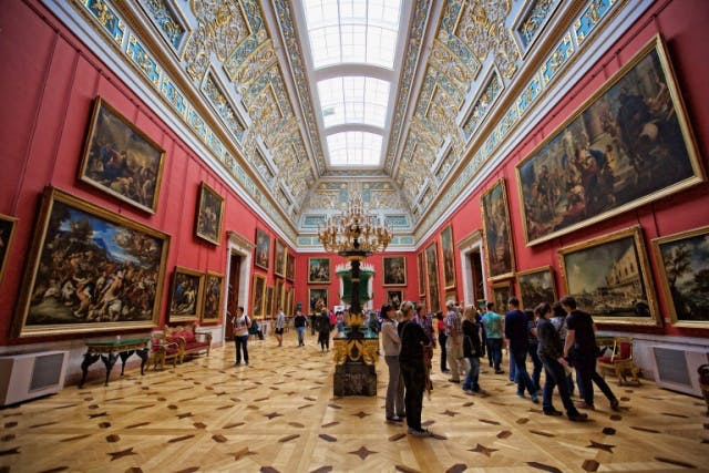 Inside the Hermitage Museum, founded in 1764 to house Catherine the Great's art collection. Image: Hunter and Bligh