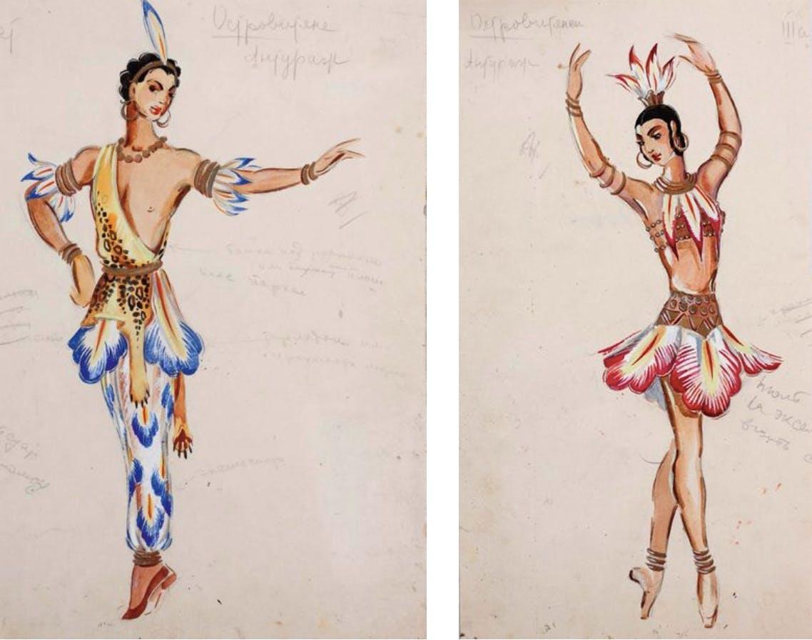 Tatiana Guéorguiévna Bruni, 2 teckningar. Foton: © Aguttes