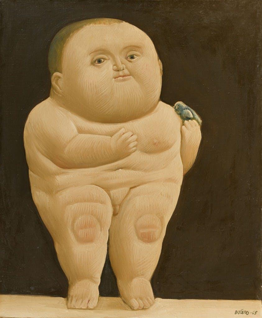 FERNANDO BOTERO (* Medellin (Colombie) 1932) -. Niño con un pájaro, huile, 104,5 x 84 cm, intitulé, signé et daté 1965 Estimation: 250.000 EUR