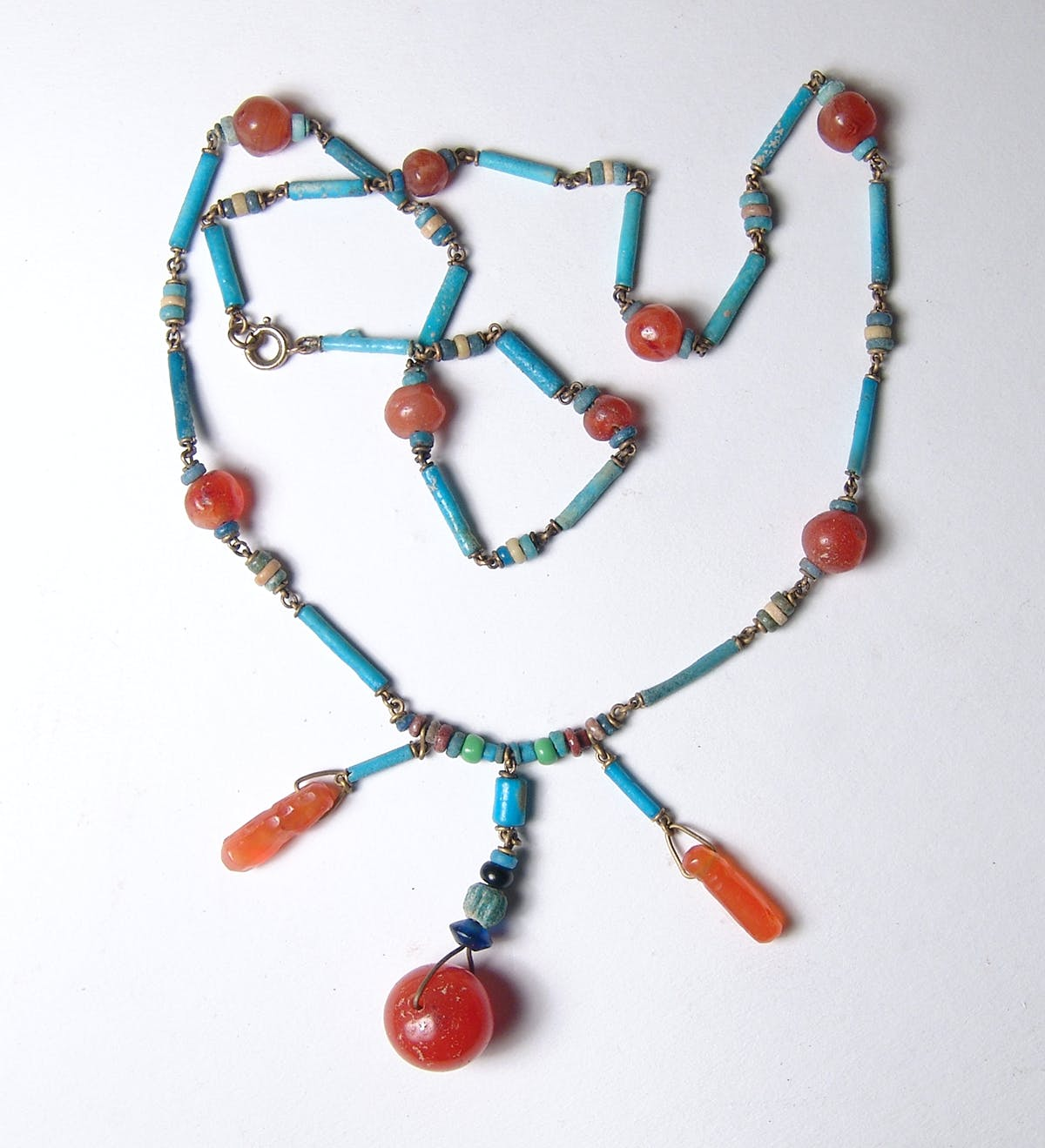 Beautiful Egyptian beaded necklace with carnelian stone embellishments from the Late Period (circa 664-30 BC), 22 inches long, from the collection of musician Ruth Deyo (est. $400-$500).