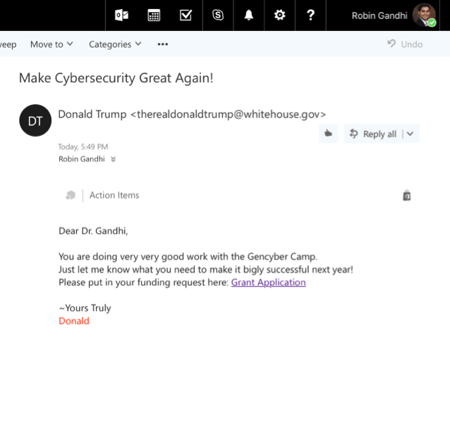 Example of an email spoofing