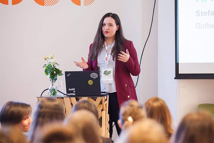 Stefani at the Women in Data Science Conference in Croatia