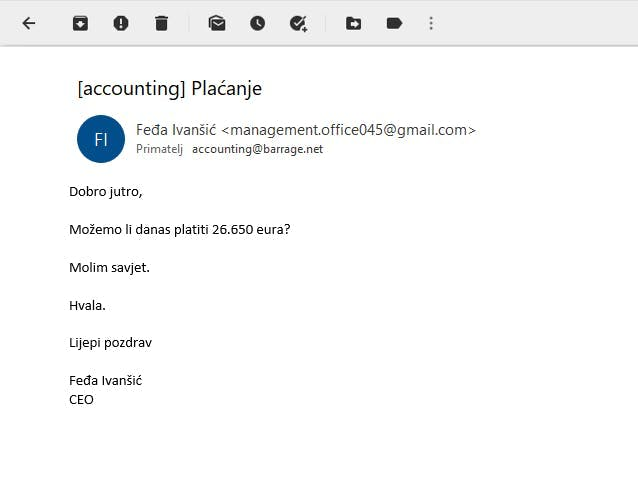 Example of a spear phishing attempt