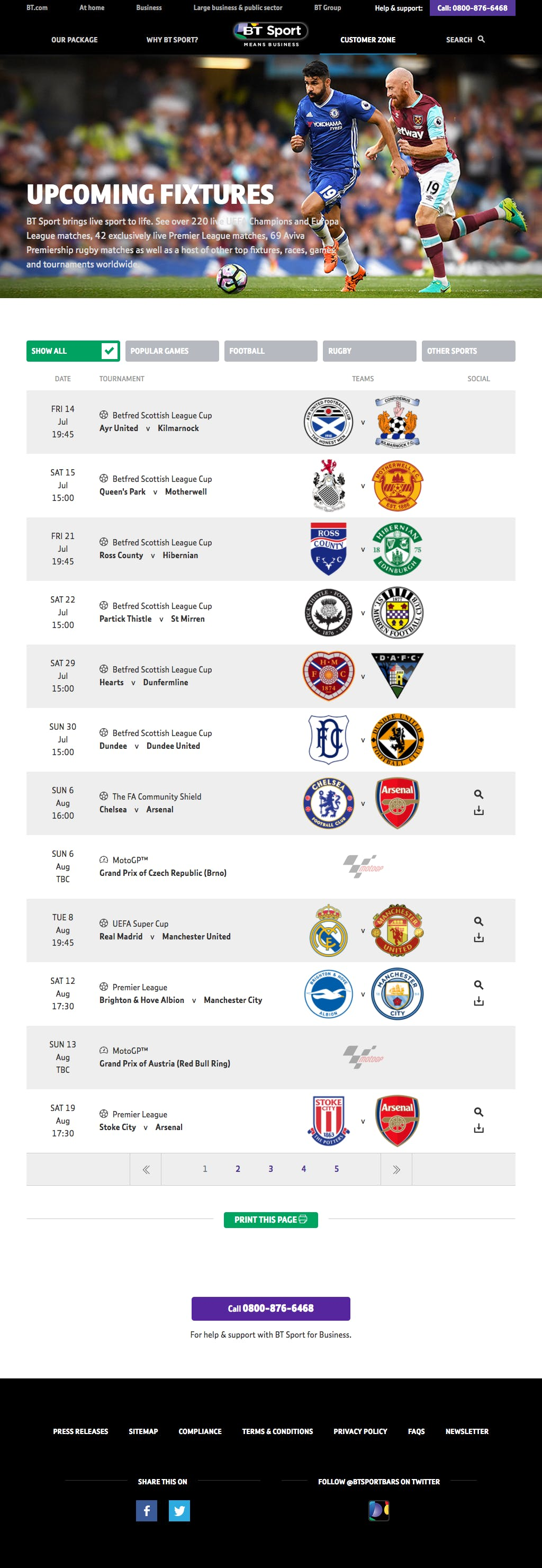 BT Sport Business Fixtures 1024