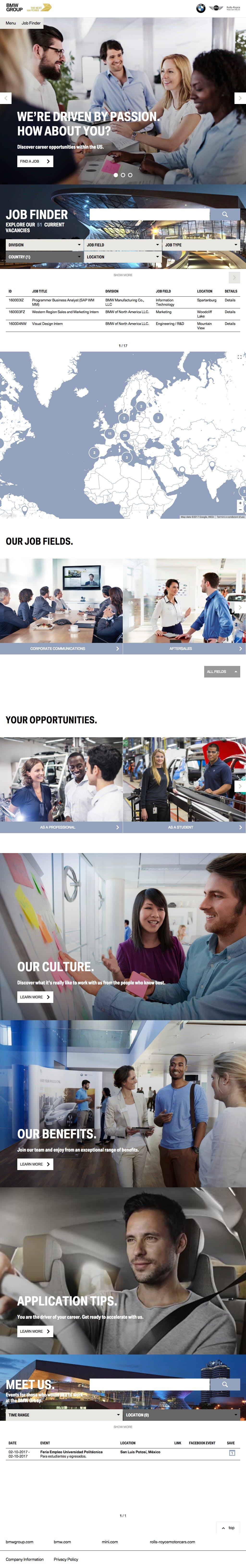 BMW Career Portal Home 1024